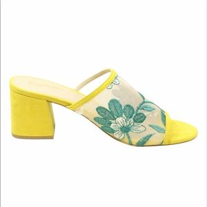 Seychelles Yellow Floral Mules Embroidered 6.5